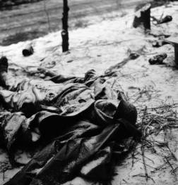 Frozen corpse of a German soldier killed during the Battle of the Bulge.